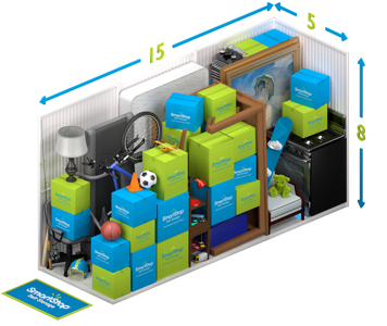 Graphical representation of the inside of a storage unit showing a variety of boxes and items, and indicating in text: 5 x 15 x 8