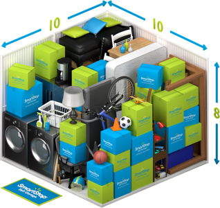 Graphical representation of the inside of a storage unit showing a variety of boxes and items, and indicating in text: 10 x 10 x 8