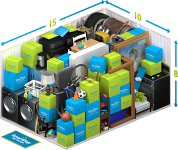 Graphical representation of the inside of a storage unit showing a variety of boxes and items, and indicating in text: 10 x 15 x 8