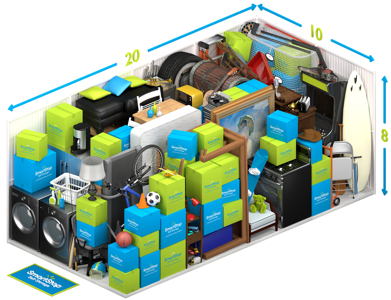 Graphical representation of the inside of a storage unit showing a variety of boxes and items, and indicating in text: 10 x 20 x 8
