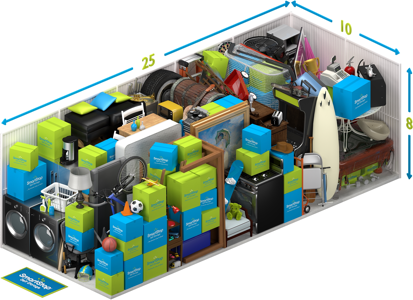 Graphical representation of the inside of a storage unit showing a variety of boxes and items, and indicating in text: 10 x 25 x 8