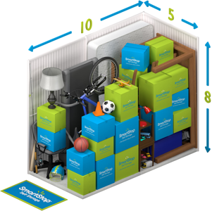 Graphical representation of the inside of a storage unit showing a variety of boxes and items, and indicating in text: 5 x 10 x 8