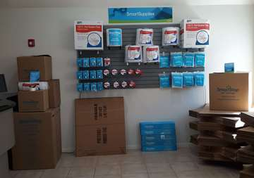 Available moving supplies for sale within front office of SmartStop Self Storage facility at 3730 Emmett F Lowry Expy Texas City Texas