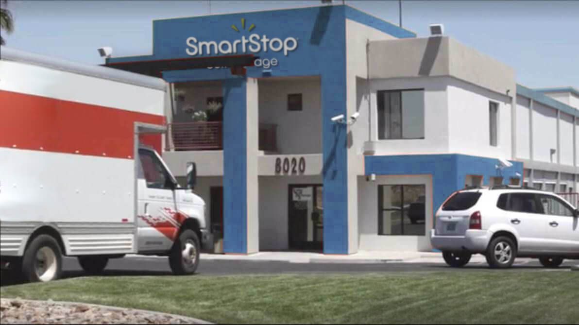 Front gate entry into Smart Stop self storage facility located at 8020 South Las Vegas Blvd, Las Vegas Nevada