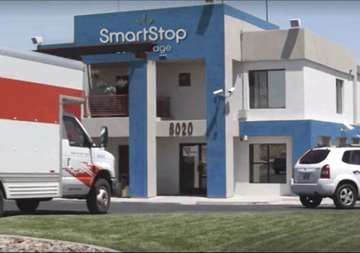 Front gate entry into SmartStop Self Storage facility located at 8020 South Las Vegas Blvd, Las Vegas Nevada