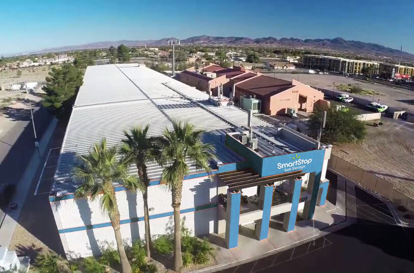 Aerial view of property at Smart Stop self storage facility located at 8020 South Las Vegas Blvd, Las Vegas Nevada