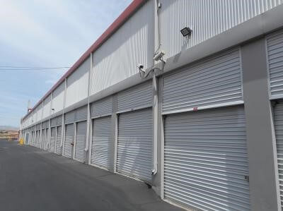 Outside row of storage units at Smart Stop self storage facility located at 8020 South Las Vegas Blvd, Las Vegas Nevada