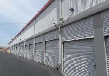 Outside row of storage units at SmartStop Self Storage facility located at 8020 South Las Vegas Blvd, Las Vegas Nevada