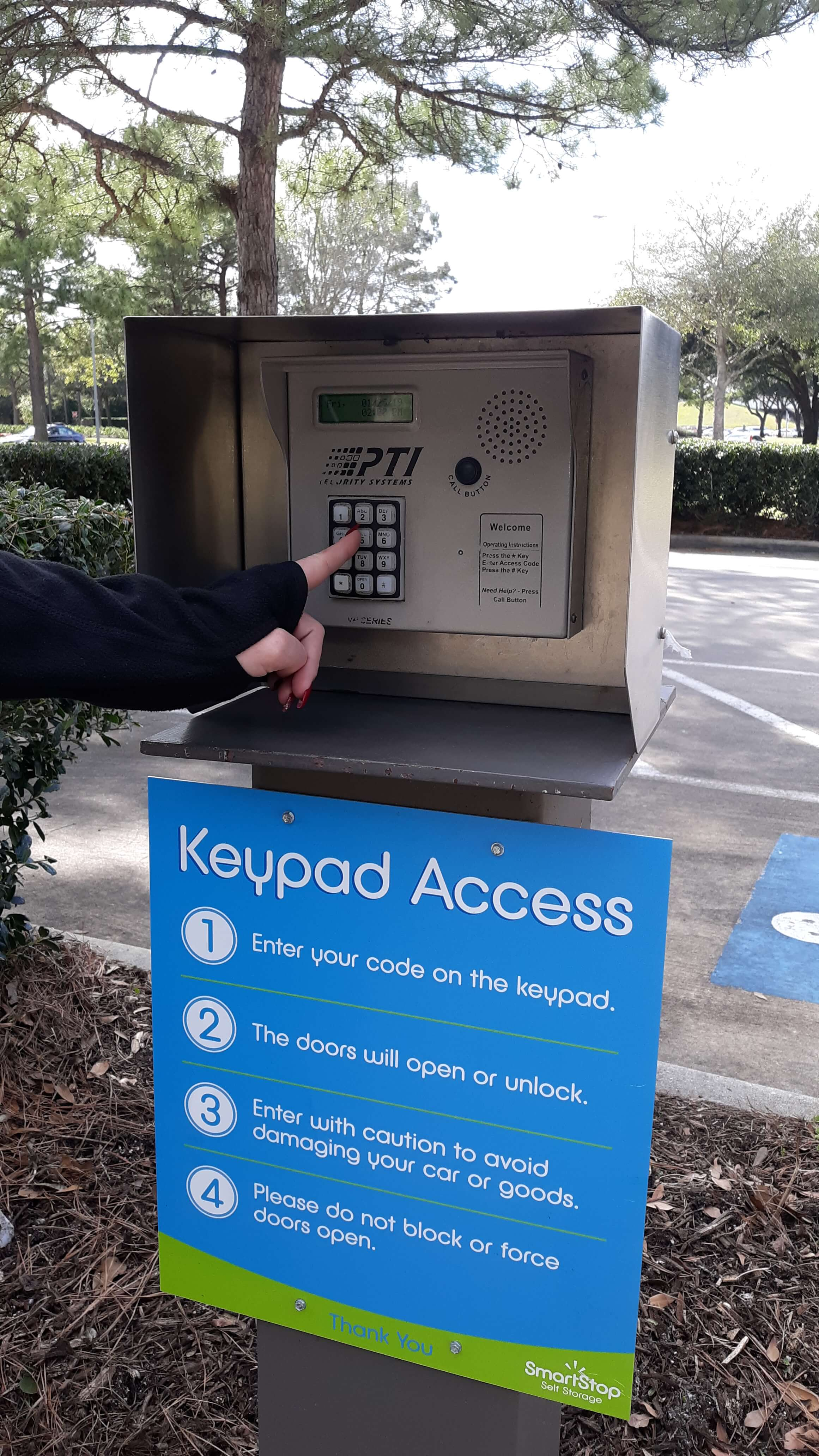 Keypad entry into Smart Stop Self Storage facility at 23250 Westheimer Parkway, Katy Texas