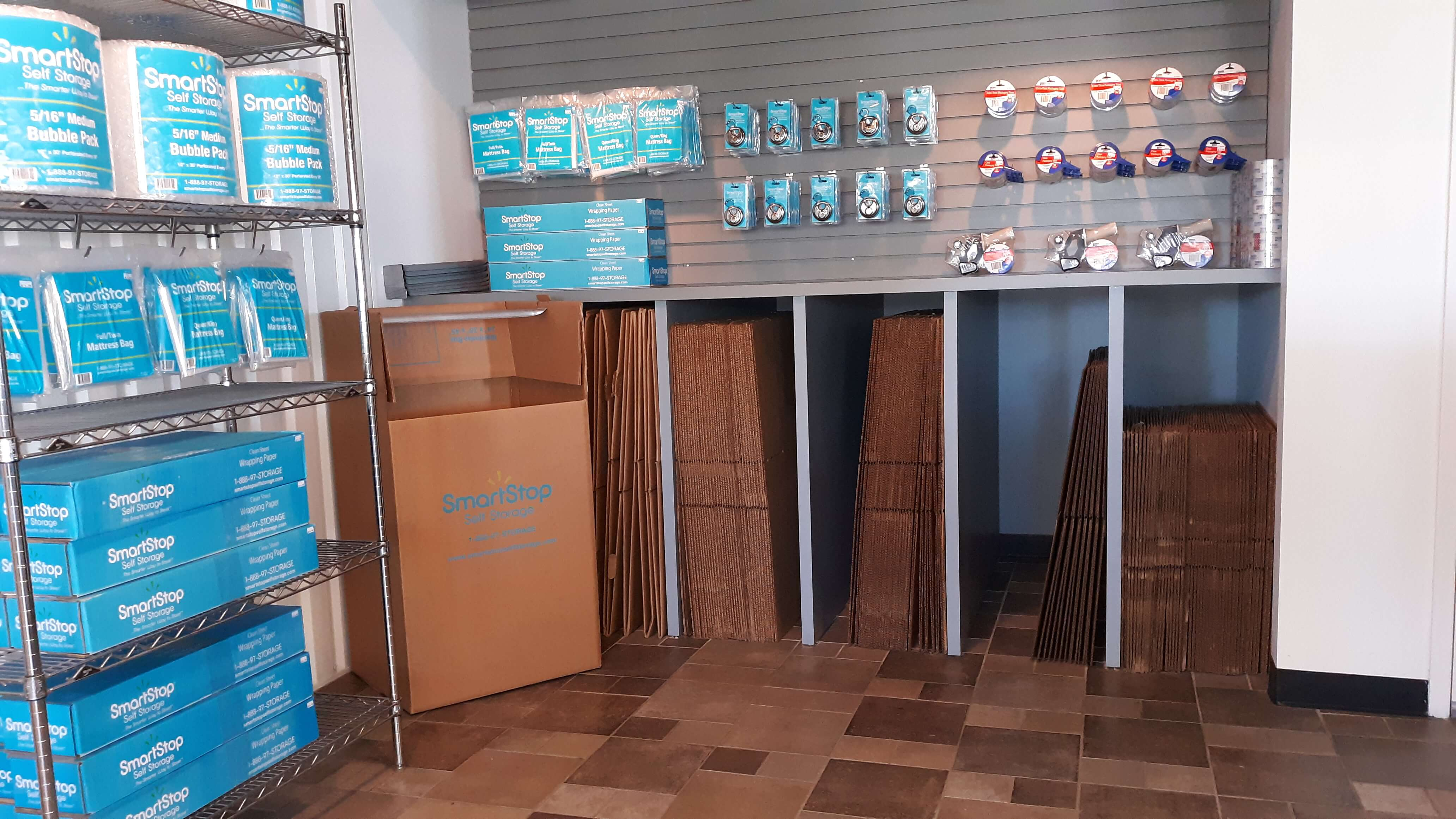Available moving supplies for sale within front office at Smart Stop Self Storage facility at 23250 Westheimer Parkway, Katy Texas