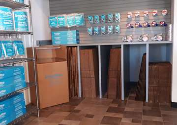 Available moving supplies for sale within front office at SmartStop Self Storage facility at 23250 Westheimer Parkway, Katy Texas