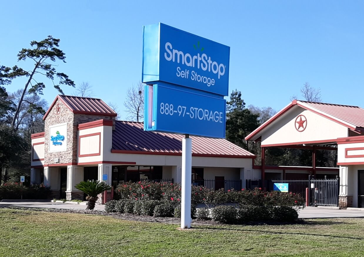 Front street view of Smart Stop self storage facility located at 3750 FM 1488 Road, Conroe Texas
