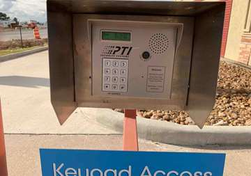 Entry keypad at SmartStop Self Storage location at 27236 US-290, Cypress Texas
