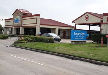Front street view of SmartStop Self Storage facility located at 8415 Queenston Blvd, Houston Texas