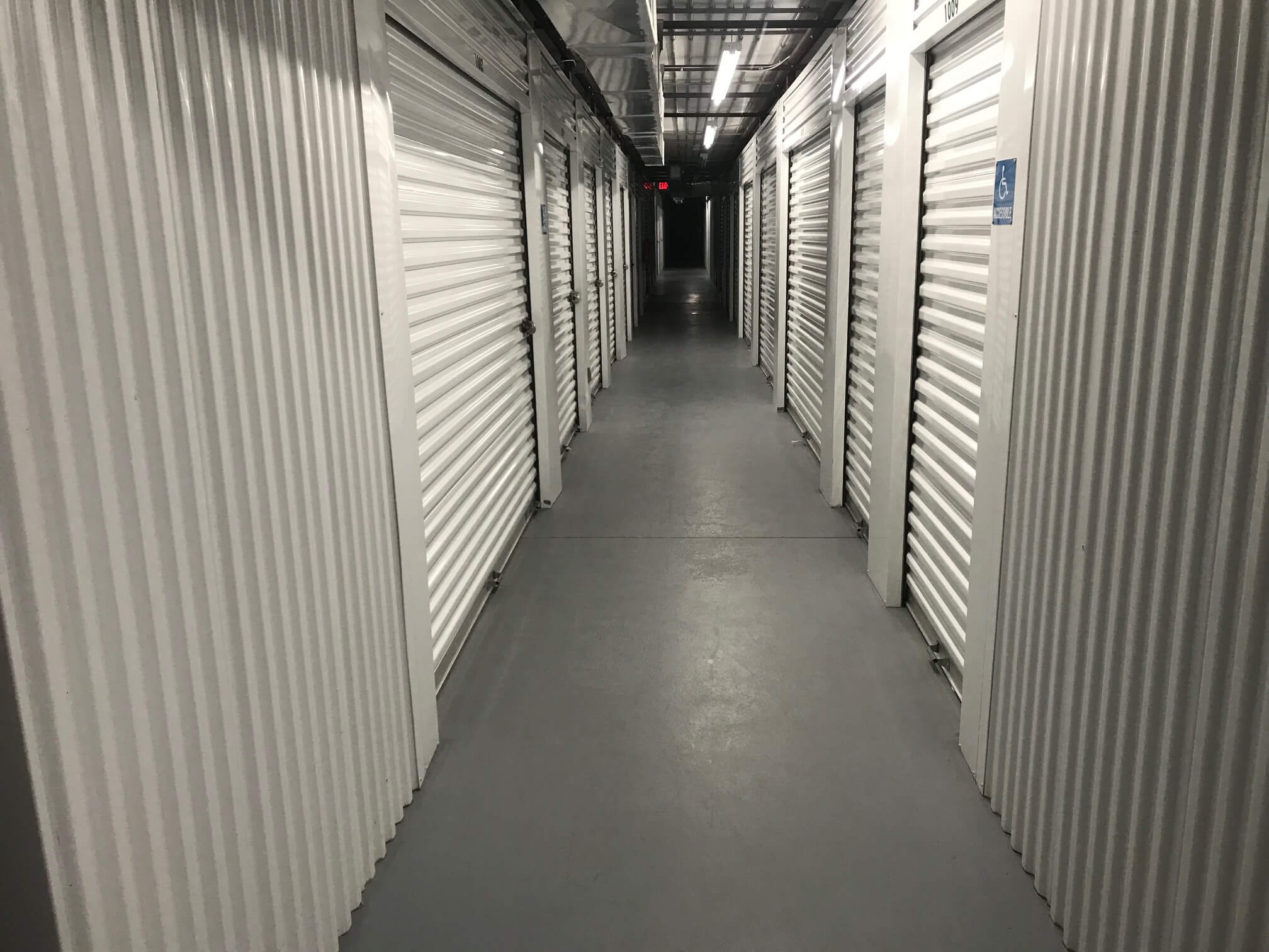 Inside row of storage units at Smart Stop self storage facility located at 150 Airport Blvd, Morrisville North Carolina