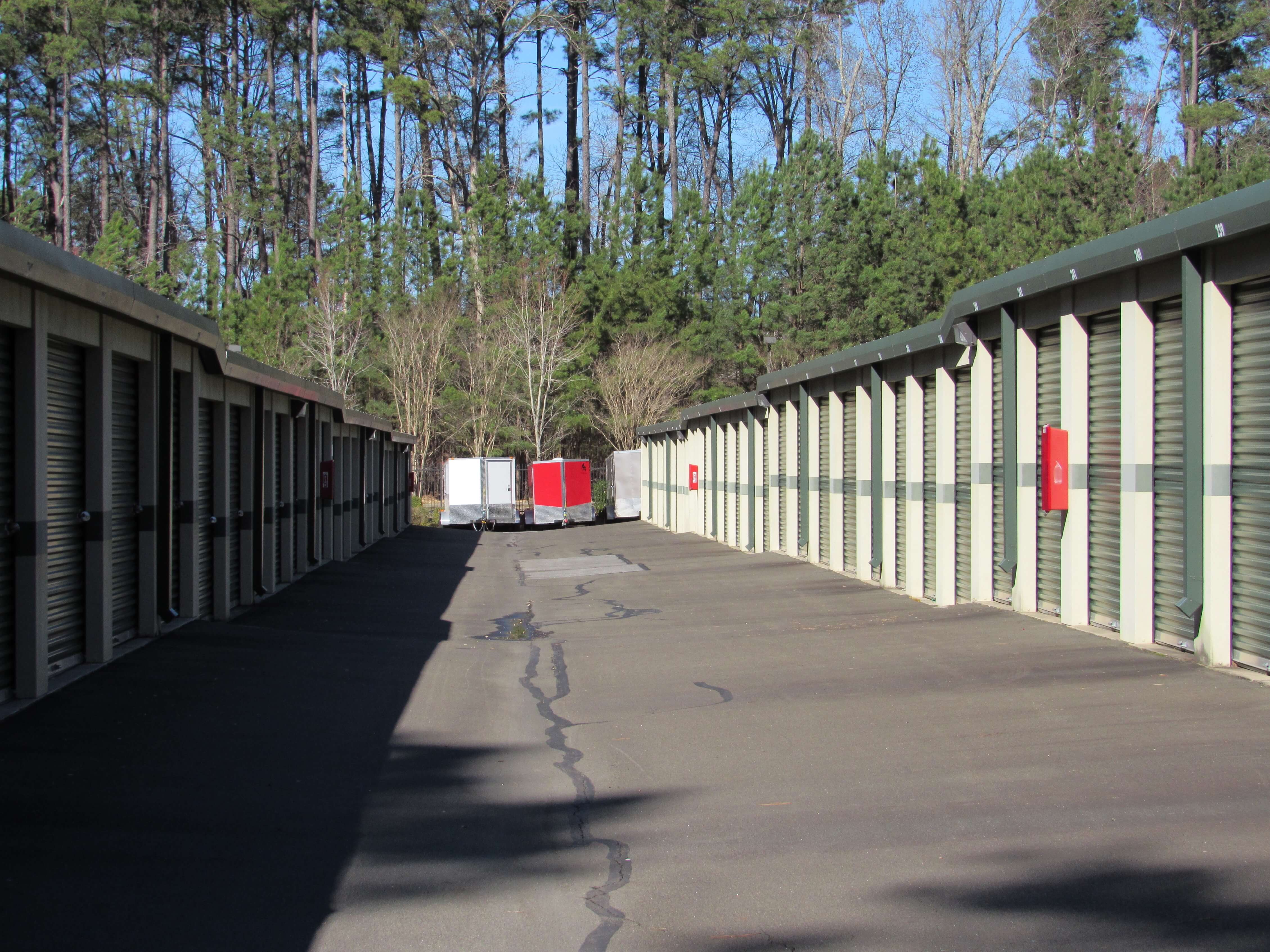 Outside row of storage units at Smart Stop self storage facility located at 150 Airport Blvd, Morrisville North Carolina