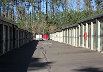Outside row of storage units at SmartStop Self Storage facility located at 150 Airport Blvd, Morrisville North Carolina