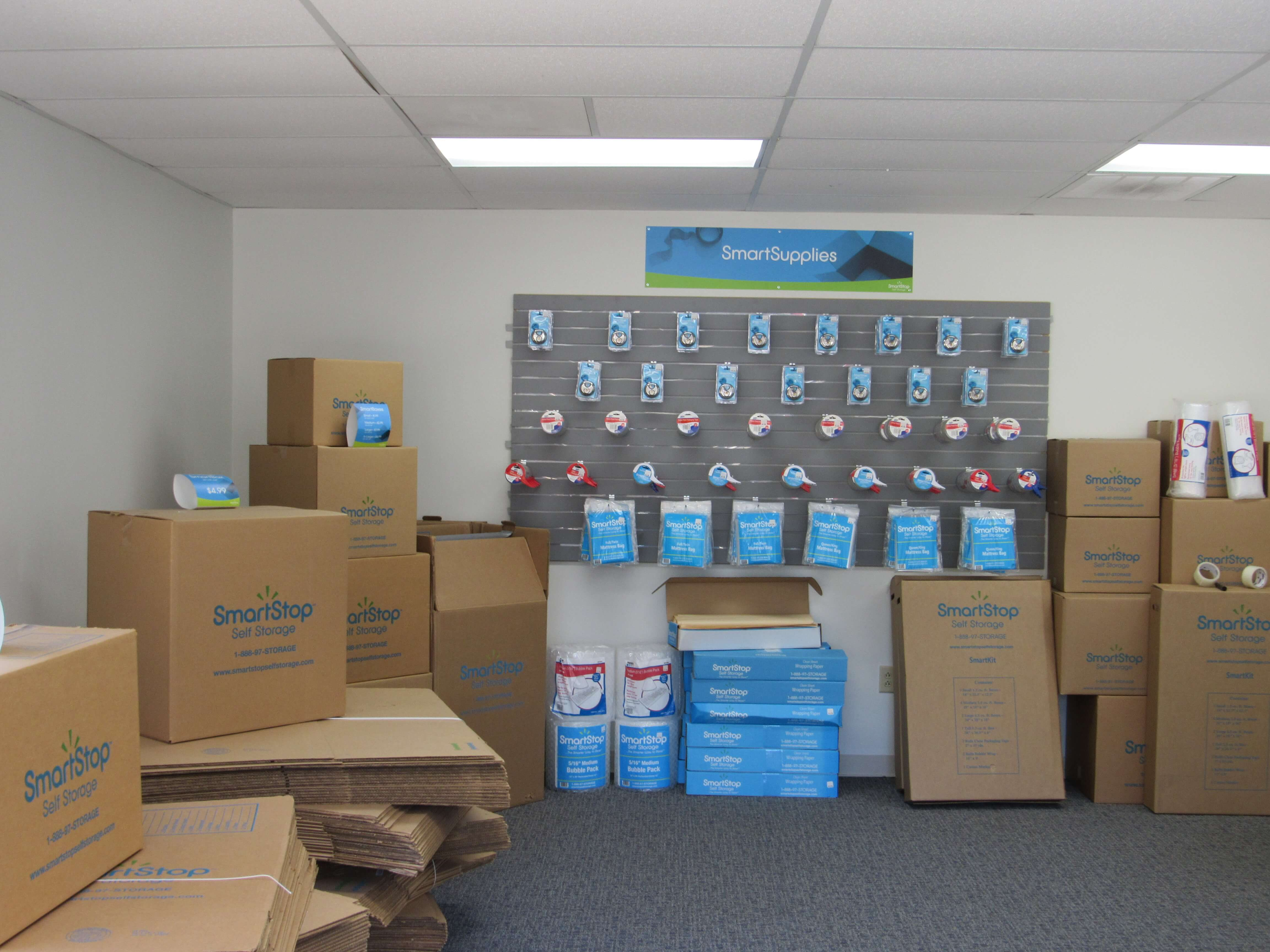 Moving and packaging supplies available for purchase within front office at Smart Stop self storage facility located at 150 Airport Blvd, Morrisville North Carolina