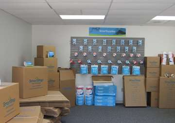Moving and packaging supplies available for purchase within front office at SmartStop Self Storage facility located at 150 Airport Blvd, Morrisville North Carolina
