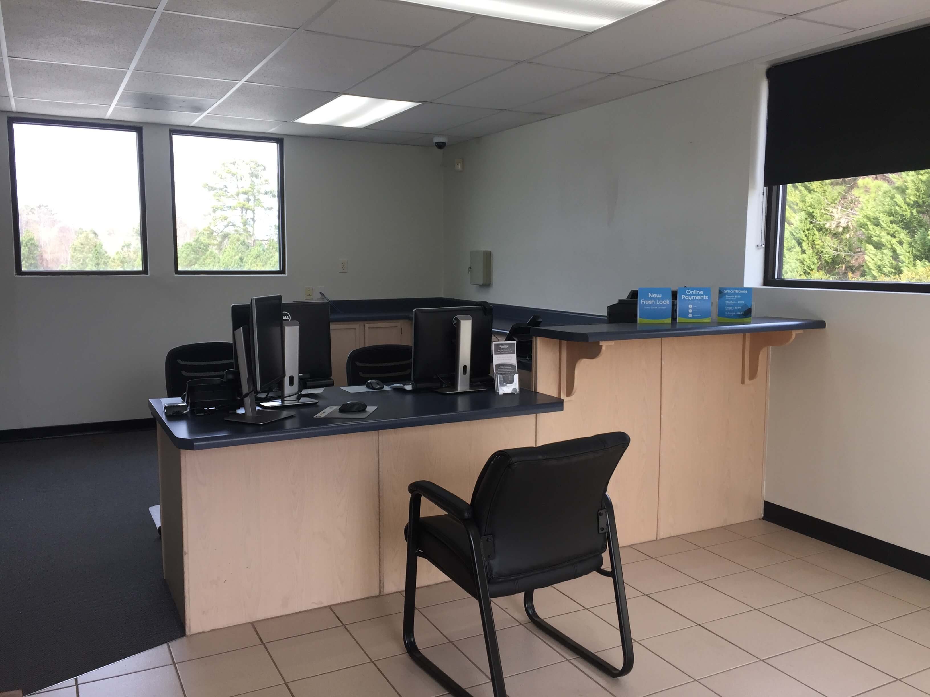 Inside front office at Smart Stop self storage facility located at 120 Centrewest Ct, Cary North Carolina