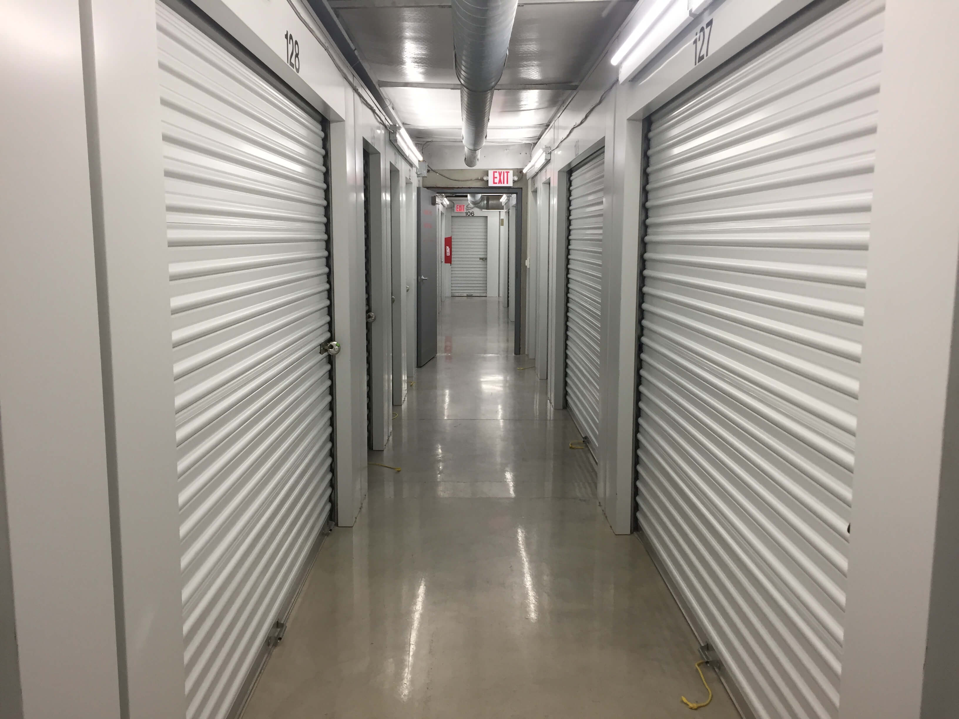 Inside row of storage units at Smart Stop self storage facility located at 120 Centrewest Ct, Cary North Carolina