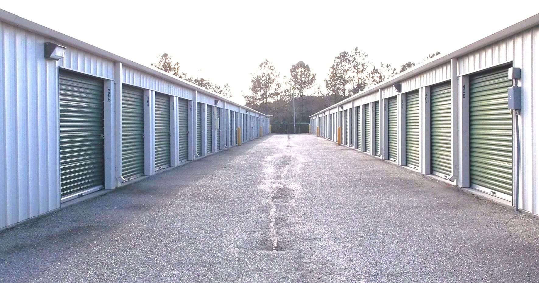 Outside row of storage units at Smart Stop self storage facility located at 338 Jesse Street, Myrtle Beach South Carolina