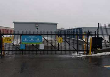Security gate entrance at SmartStop Self Storage facility located at 262 East Maple Road, Troy Michigan