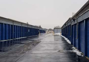 Outside row of storage units at SmartStop Self Storage facility located at 24623 Ryan Road, Warren Michigan