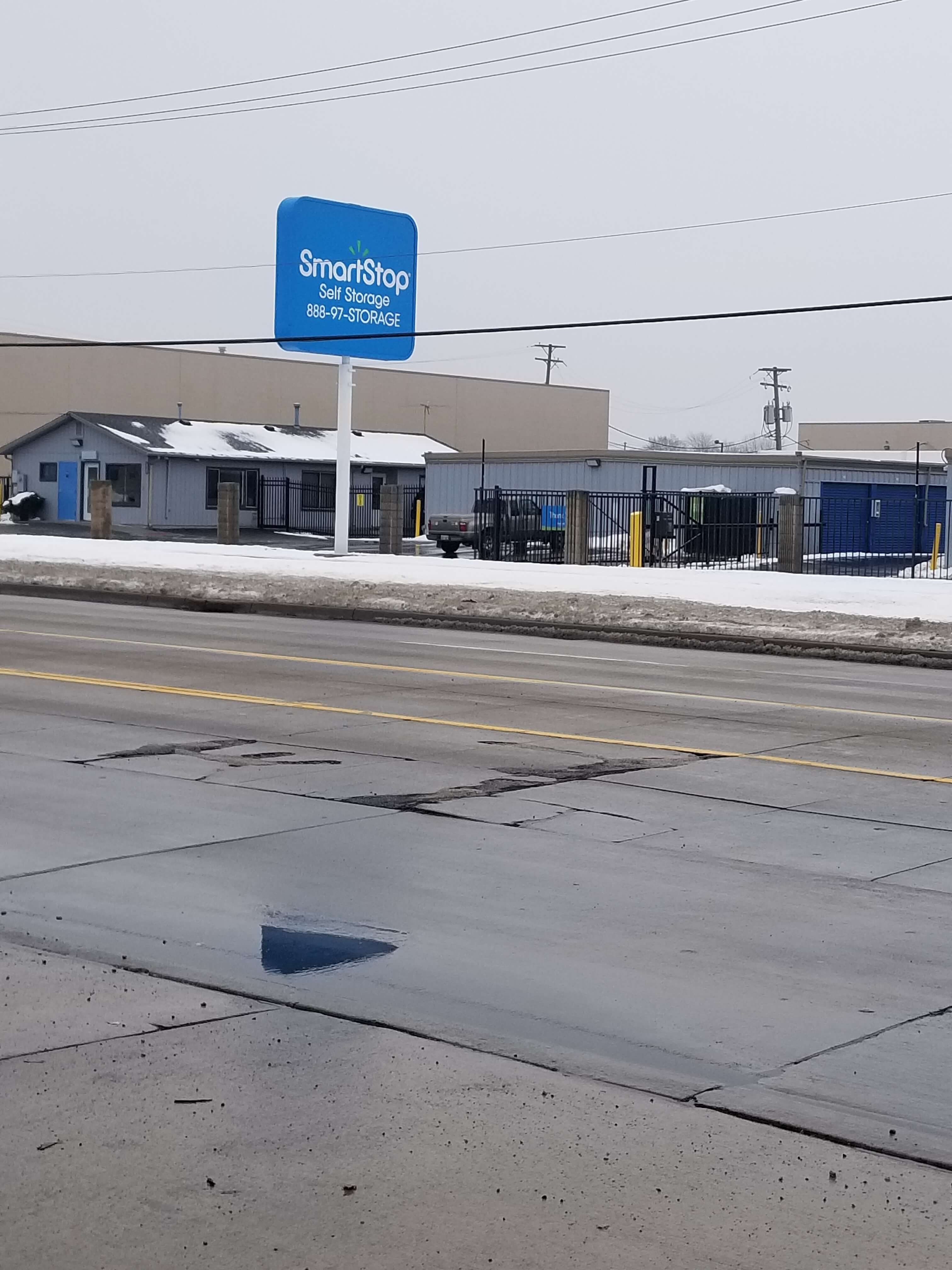 Street entrance view of Smart Stop self storage facility located at 24623 Ryan Road, Warren Michigan