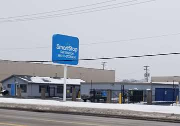 Street entrance view of SmartStop Self Storage facility located at 24623 Ryan Road, Warren Michigan