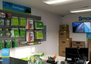 Packing supplies wall inside of main office SmartStop Self Storage facility in Everett Washington
