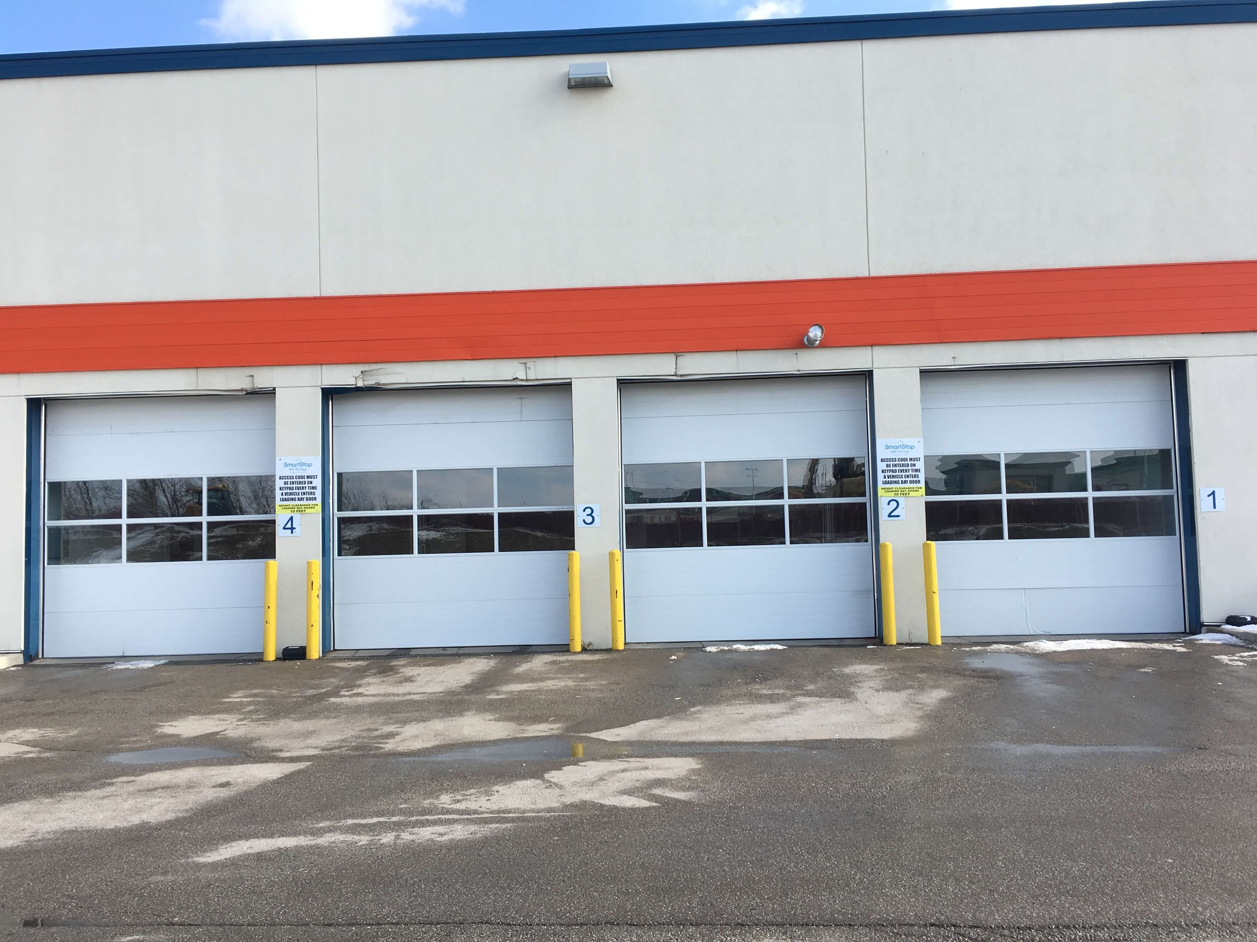 Loading dock entry at Smart Stop self storage facility located at 1207 Appleby Line, Burlington Ontario Canada