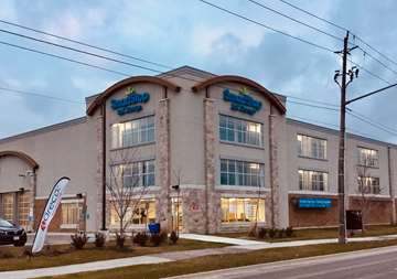 Outside view of front office at SmartStop Self Storage facility located at 2055 Cornwall Road, Oakville Ontario Canada