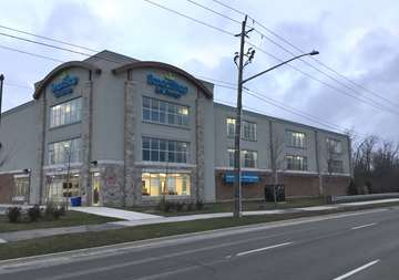 Outside view of SmartStop Self Storage facility located at 2055 Cornwall Road, Oakville Ontario Canada