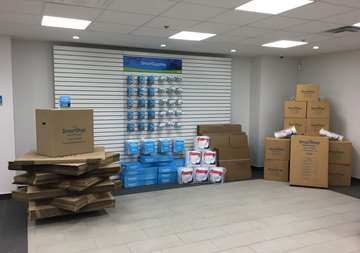 Available moving supplies for sale at SmartStop Self Storage facility located at 2055 Cornwall Road, Oakville Ontario Canada