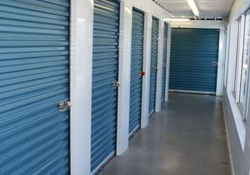 Inside row of storage units at SmartStop Self Storage facility located at 4491 Mainway Drive, Burlington Ontario Canada