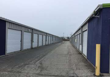 Outside row of storage units at SmartStop Self Storage facility located at 4491 Mainway Drive, Burlington Ontario Canada