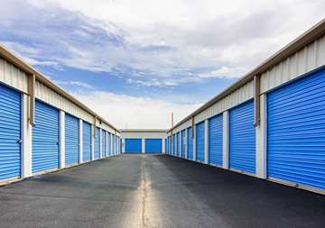 Outside row of storage units at SmartStop Self Storage facility located at 1325 Benden Way, Greenville Ohio
