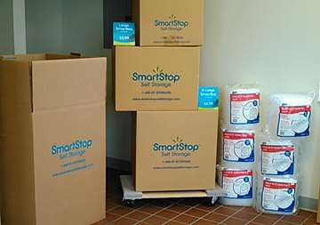 Moving supplies available for purchase within front office at SmartStop Self Storage facility located at 1325 Benden Way, Greenville Ohio