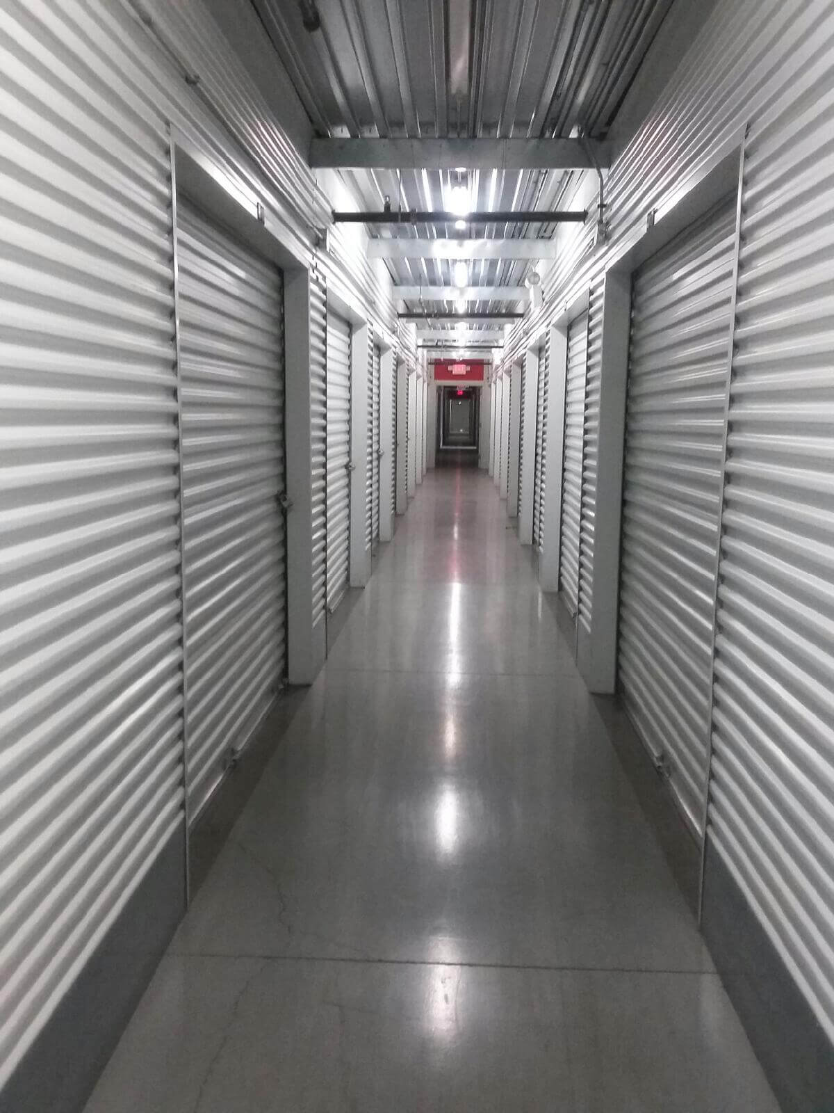 Inside row of storage units at Smart Stop self storage facility located at 590 East Silverado Ranch Blvd, Las Vegas Nevada