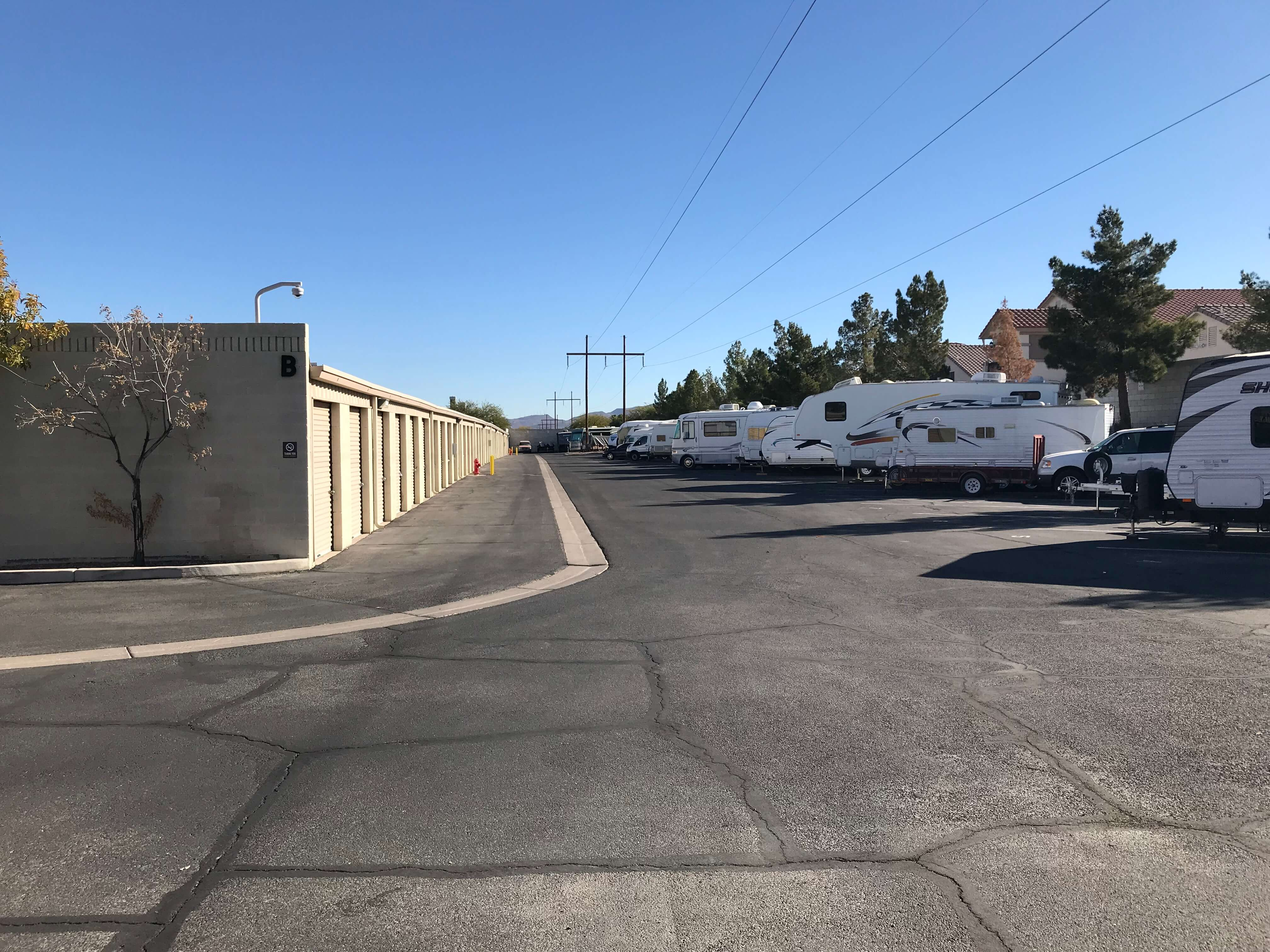 Outside row of storage units and RV parking at Smart Stop self storage facility located at 9890 Pollock Drive, Las Vegas Nevada