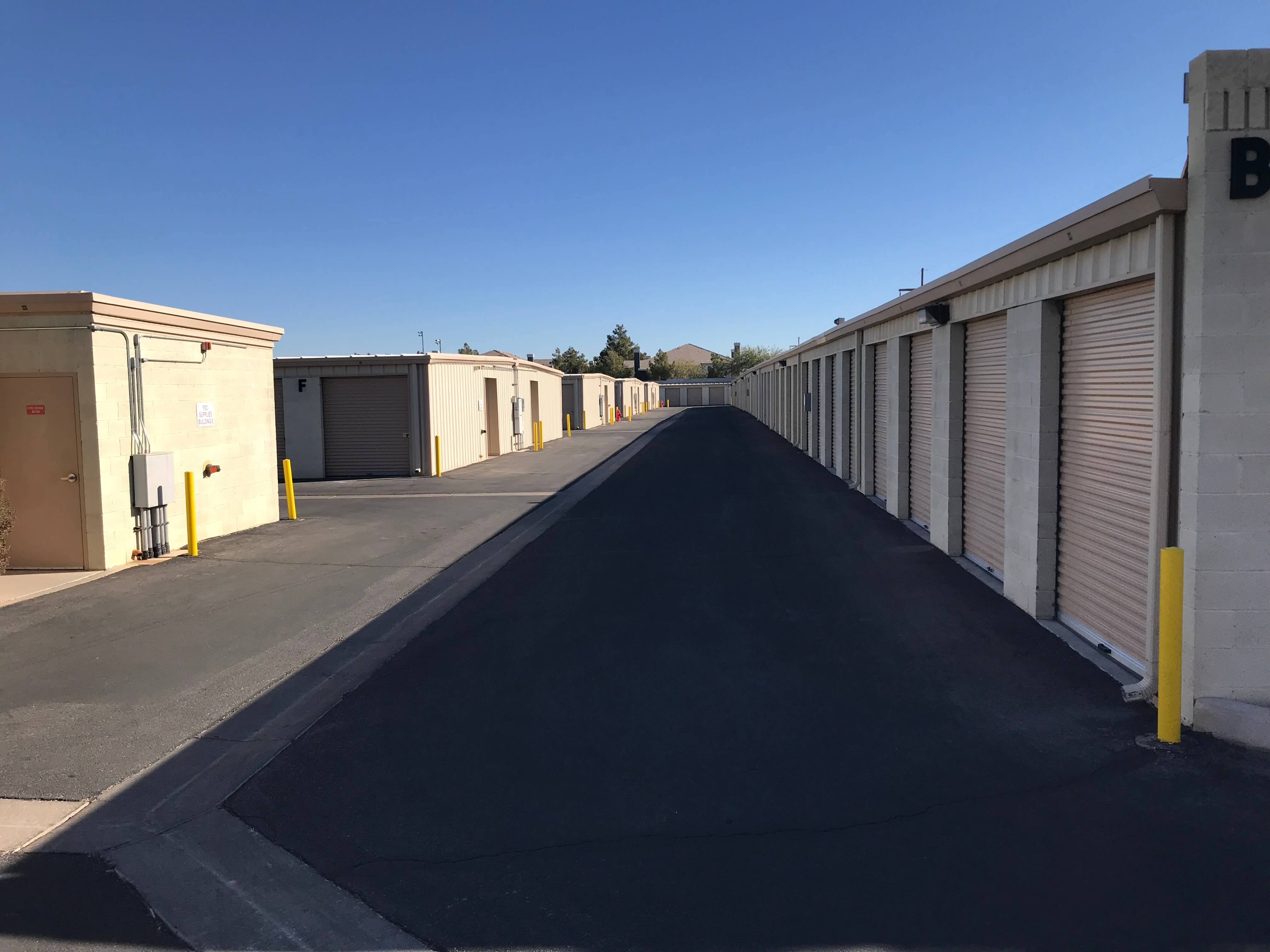 Outside row of storage units at Smart Stop self storage facility located at 9890 Pollock Drive, Las Vegas Nevada
