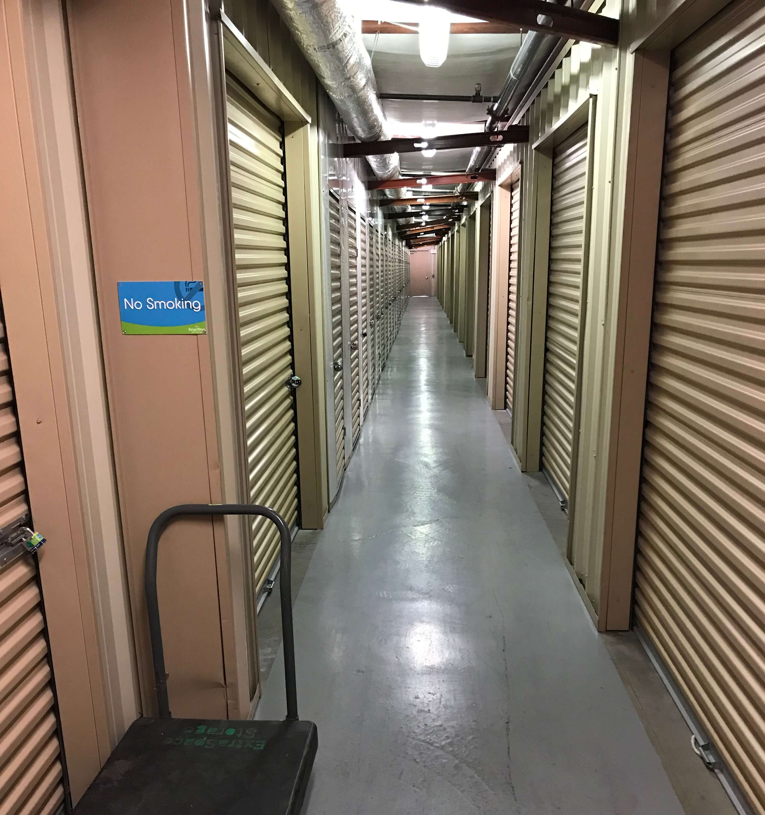 Inside row of storage units at Smart Stop self storage facility located at 9890 Pollock Drive, Las Vegas Nevada