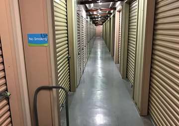 Inside row of storage units at SmartStop Self Storage facility located at 9890 Pollock Drive, Las Vegas Nevada