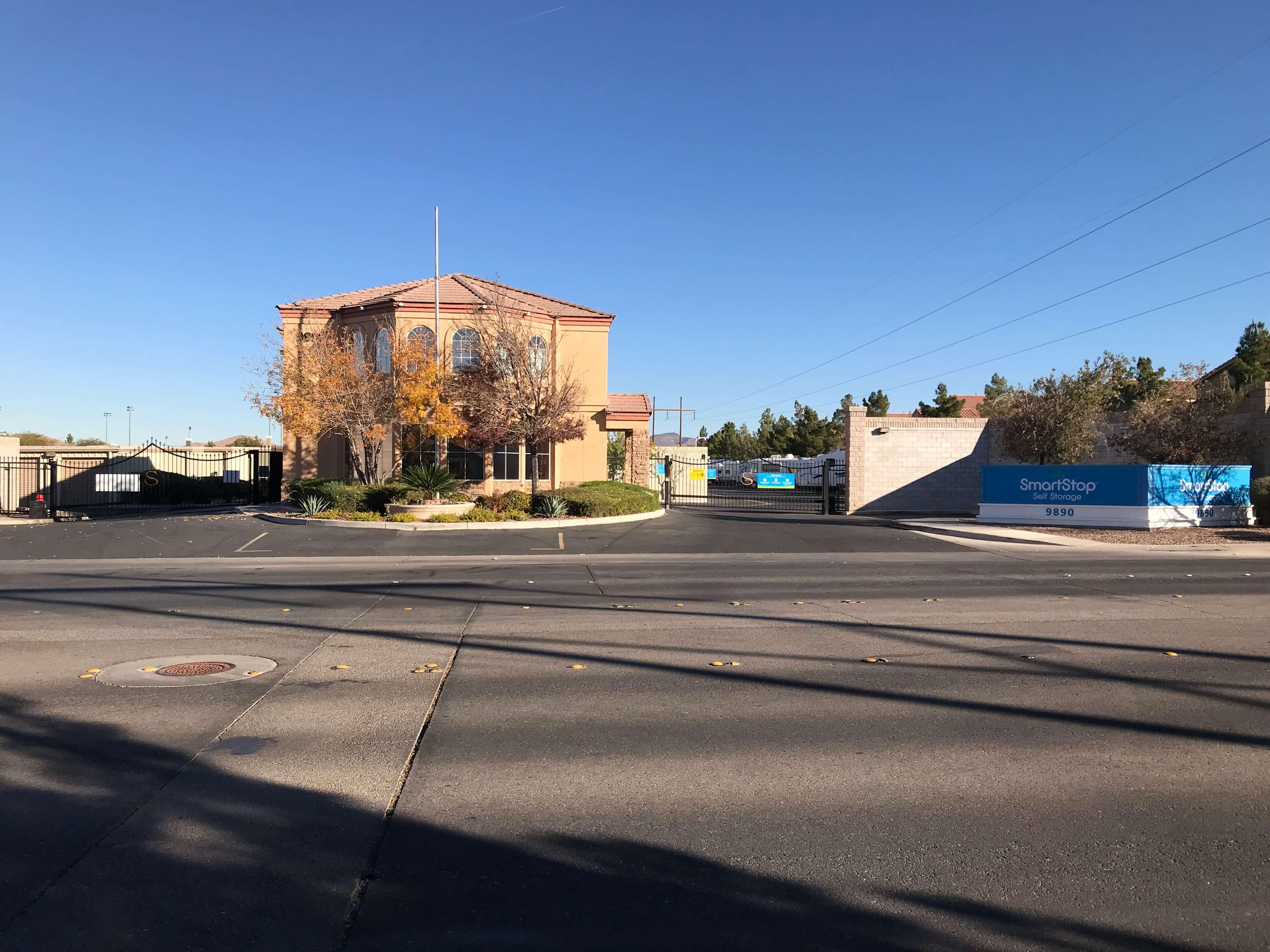 Street view looking at Smart Stop self storage facility located at 9890 Pollock Drive, Las Vegas Nevada