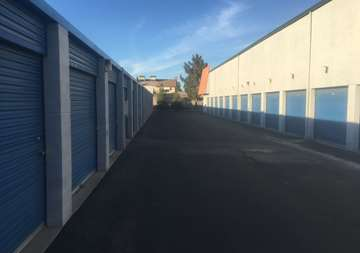 Outside row of storage units at SmartStop Self Storage facility located at 6318 West Sahara Ave, Las Vegas Nevada