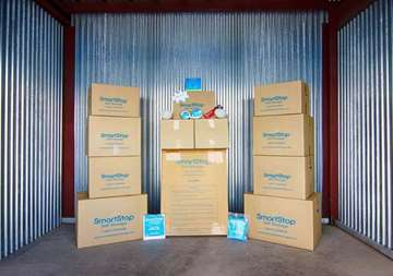 Display of moving boxes for sale at SmartStop Self Storage facility located at 1130 Sweeten Creek Road, Asheville North Carolina