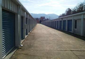Outside row of storage units at SmartStop Self Storage facility located at 1130 Sweeten Creek Road, Asheville North Carolina