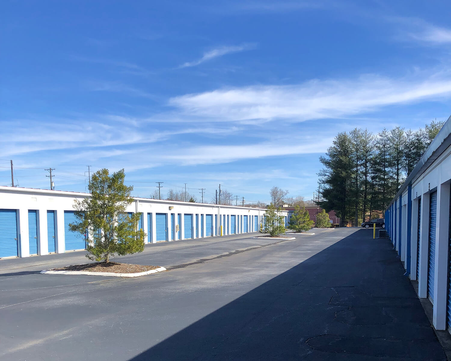 Outside row of storage units at Smart Stop self storage facility located at 1931 Spartanburg Highway, Hendersonville North Carolina