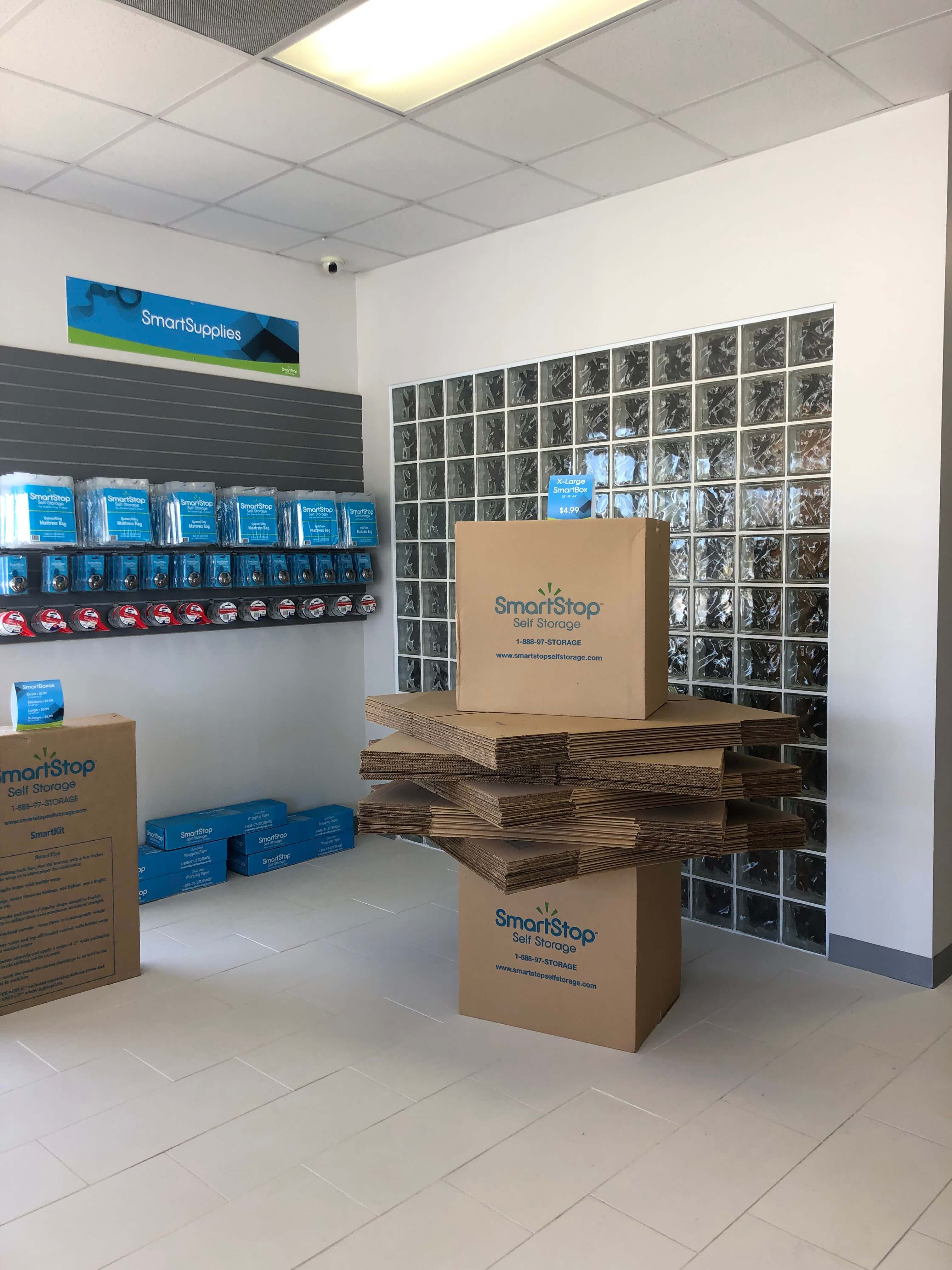 Packing and moving supplies available for purchase within front office at Smart Stop self storage facility located at 1931 Spartanburg Highway, Hendersonville North Carolina